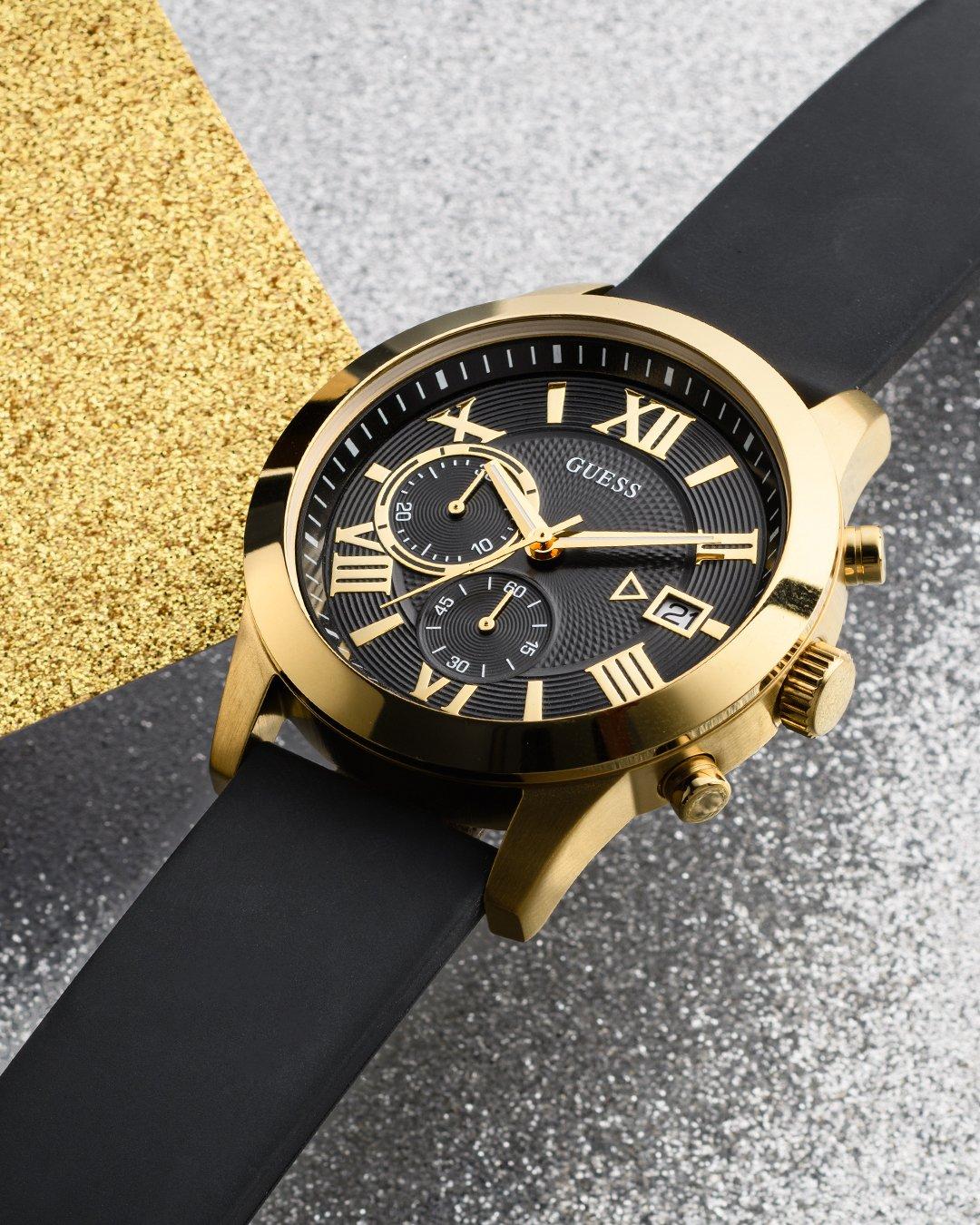 Stylowy zegarek Guess na czarnym pasku