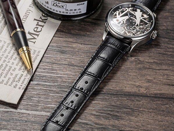 Skeletowany zegarek Aerowatch na skórzanym pasku z mechanizmem mechanicznym