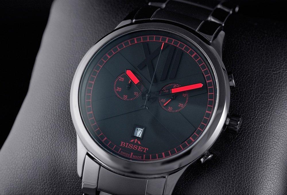 Modowy, męski zegarek Bisset na czarnej ceramicznej bransolecie z zapięciem motylkowym.