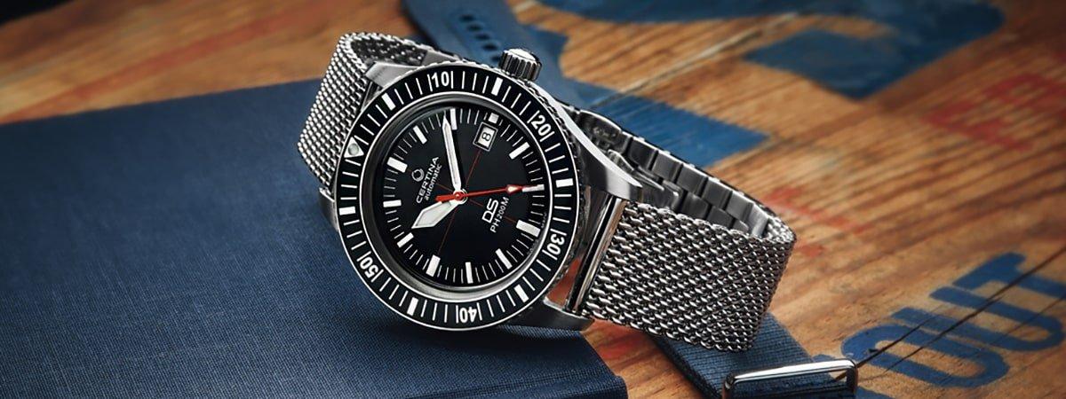 Automatyczny zegarek Certina na bransolecie typu mesh.