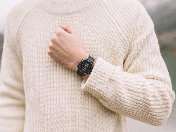 Zegarek Meller Makonnen w czarnym kolorze na bransolecie mesh