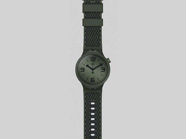 Stylowe zegarki Swatch w kolorze khaki
