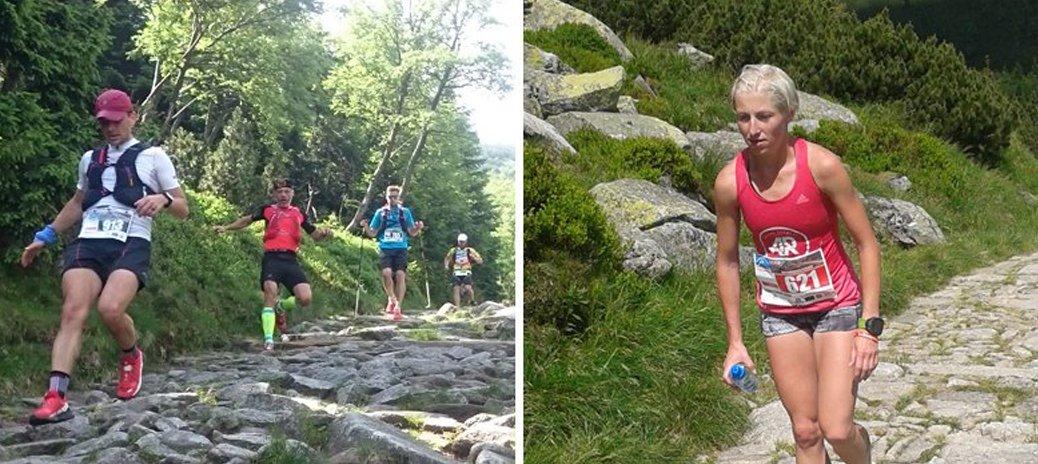Zbieganie po kamieniach przez uczestników oraz Mistrzyni Polski, Dominika Stelmach.