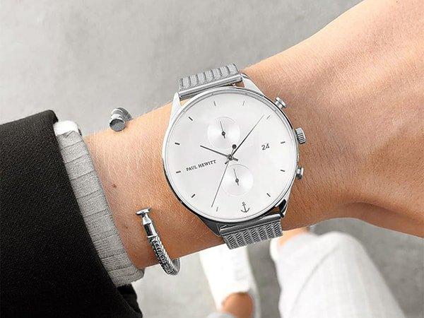 Klasyczny zegarek Paul Hewitt na srebrnej bransolecie mesh z białą tarczą oraz dwiema subtarczami