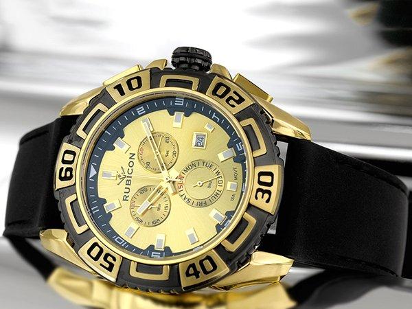 Zegarek Rubicon na pasku silikonowym w czarnym kolorze
