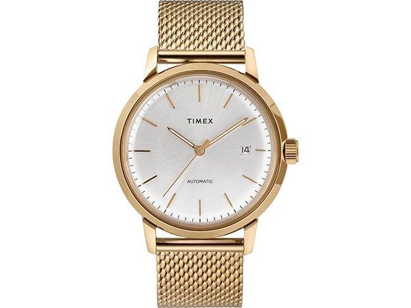 Złoty zegarek Timex na złotej bransolecie mesh.