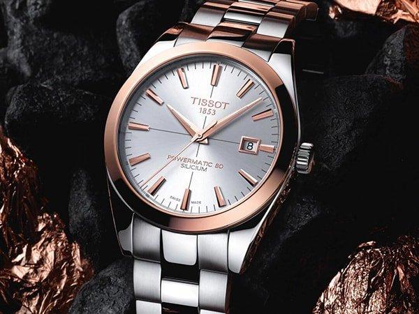 Elegancki zegarek Tissot z akcentami w kolorze różowego złota wykonane ze złota