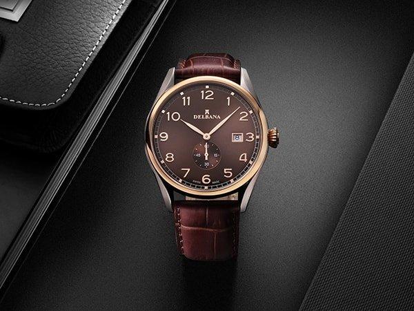 Klasyczny zegarek Delaban na brązowym pasku