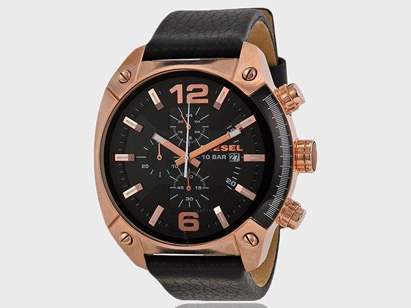 Czarny zegarek Diesel Overflow z akcentami z wkolorze różowego złota