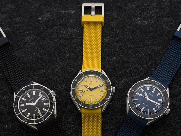 Trzy warianty kolorystyczne niezawodnych zegarków Doxa w sportowym stylu.