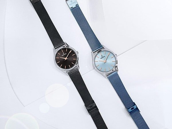 Eleganckie damski zegarki Festina na bransolecie mesh