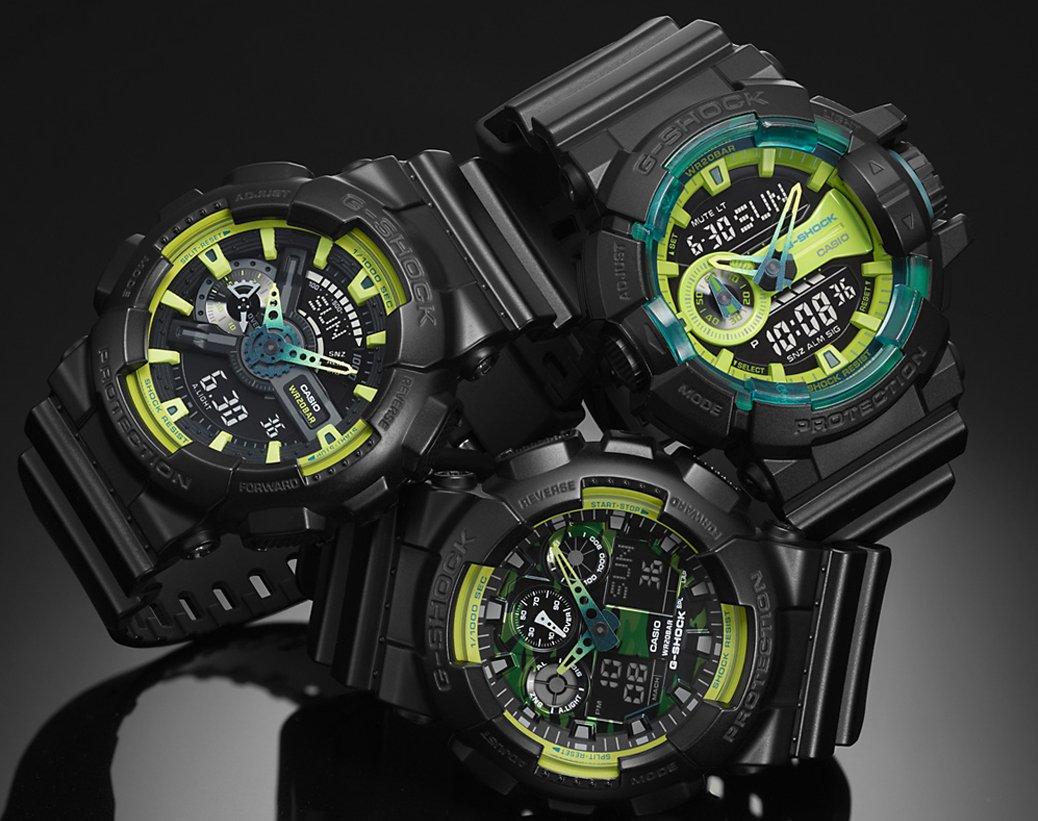Kolekcja zegarków G-Shock Lumi Yellow w sportowym stylu i limonkowo-czarnej kolorystyce.