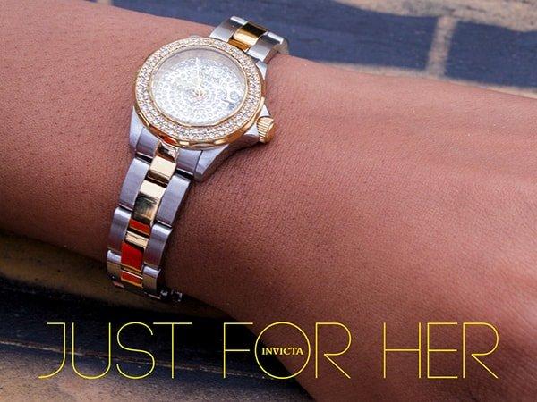 Stylowy zegarek damski Invicta z bogato zdobiona tarcza