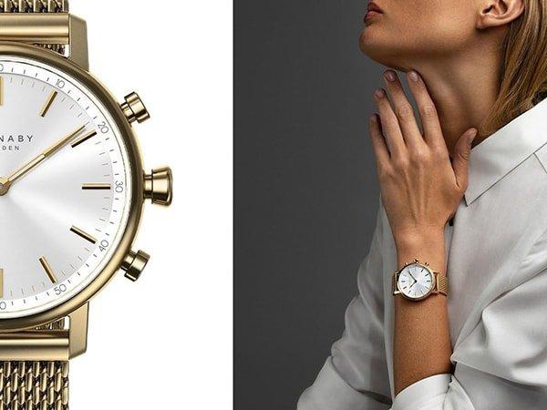 Stylowy zegarek Kronaby w złotym kolorze na bransolecie mediolańskiej