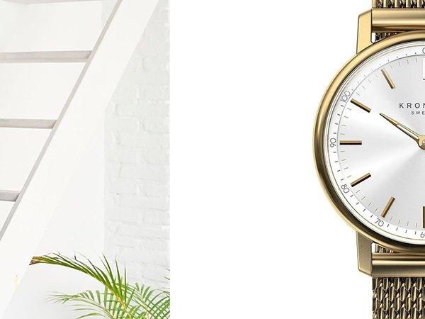 Zegarek Kronaby Carat w złotym kolorze z białą tarczą