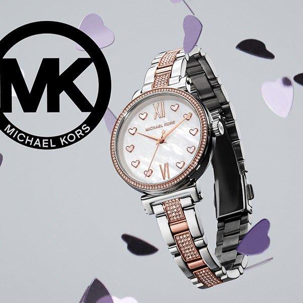 Stylowy zegarek Michael Kors na srebrnej bransolecie z akcentami w kolorze różowego złota oraz cyrkoniami.