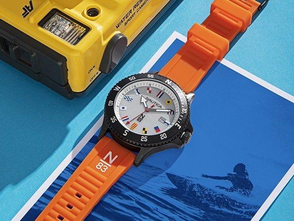 Zegarek Nautica N83 na silikonowym pomarańczowym pasku