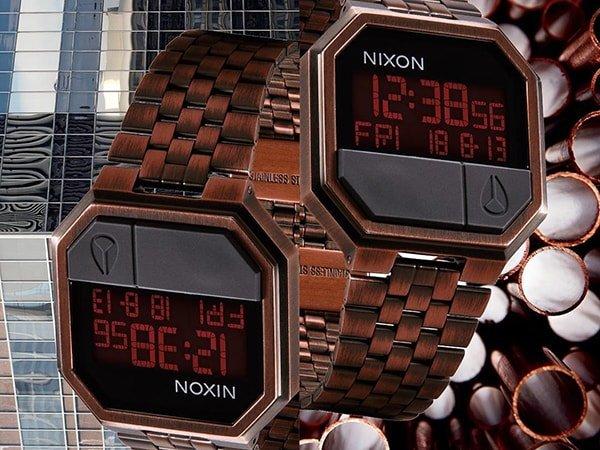 Stylowe zegarki Nixon re-run w czerwonym kolorze z charakterystycznym designem vintage