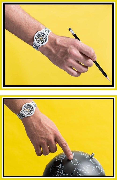 Biały zegarek marki Guess inspirowany moda uliczną.