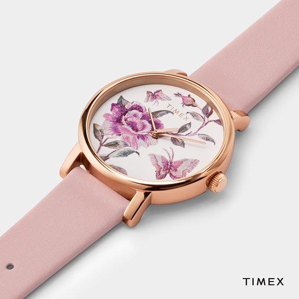 Zegarki Timex na pasku skórzanym- różowym