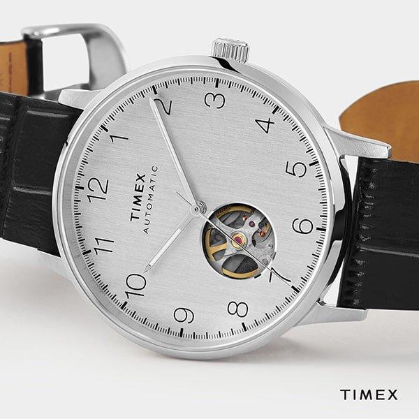 Zegarki Timex na pasku skórzanym- czarnym