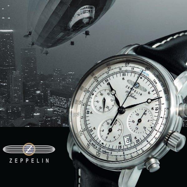Zegarek Zeppelin 100 Years Ed 1 z unikatowym wyglądem na skórzanym czarym paksu.