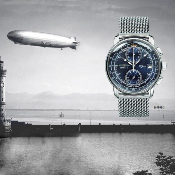 Niesamowity zegarek Zeppelin 100 Years na srebrnej bransolecie mesh