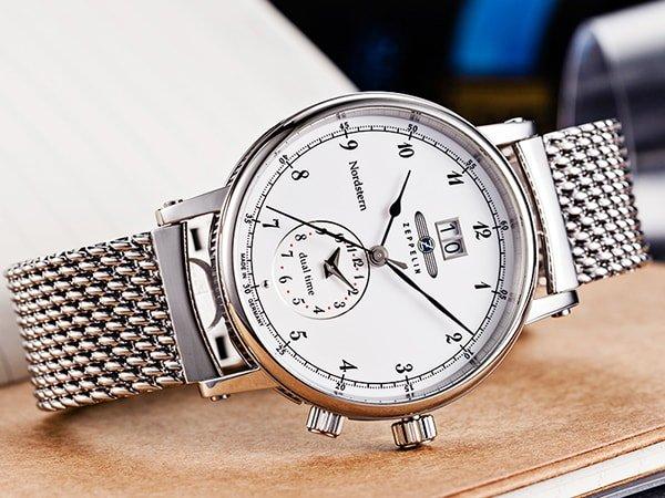 Zegarek Zeppelin Nordstern w srebrnym kolorze na bransolecie mesh