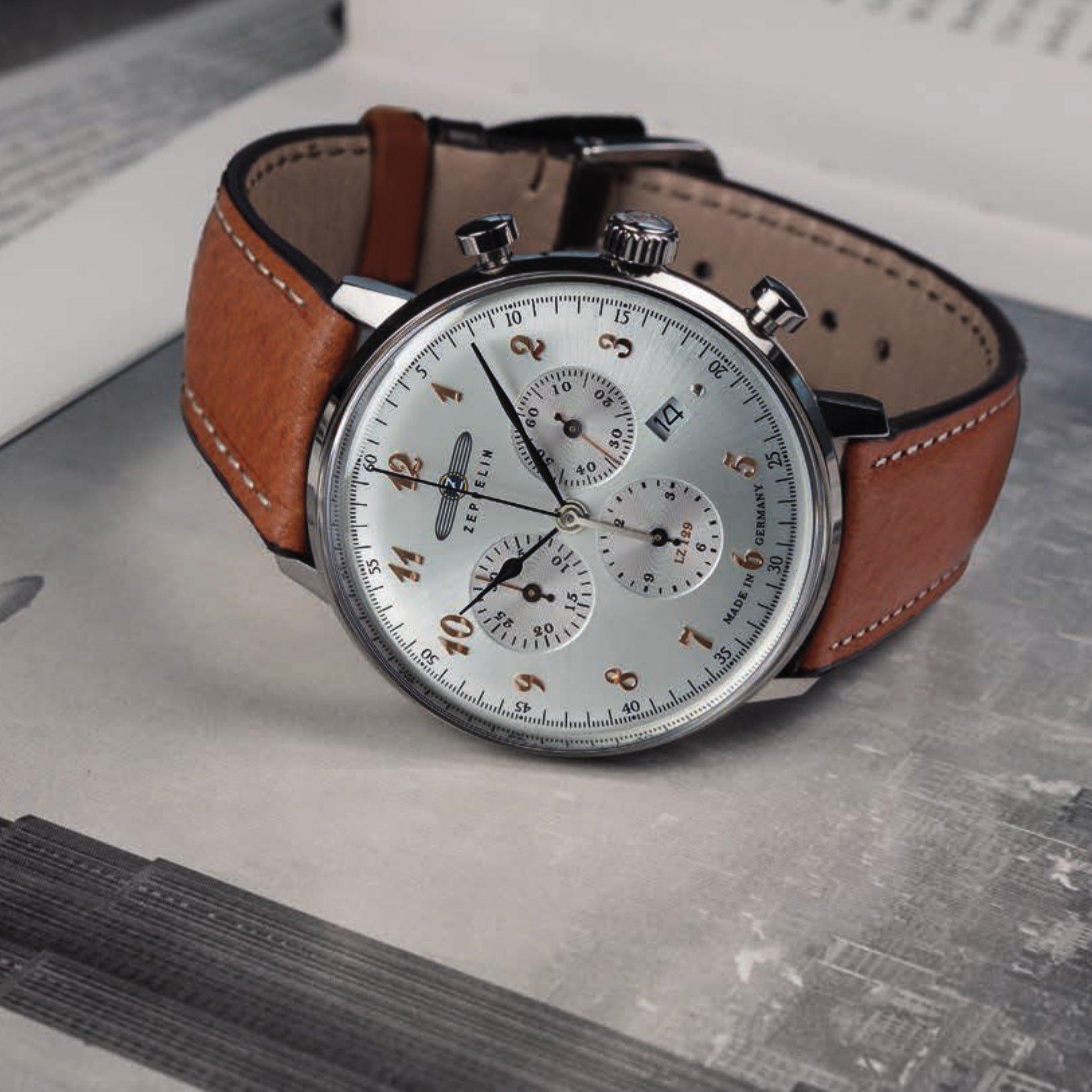 stylowy zegarek Zeppelin na skórzanym brązowym pasku