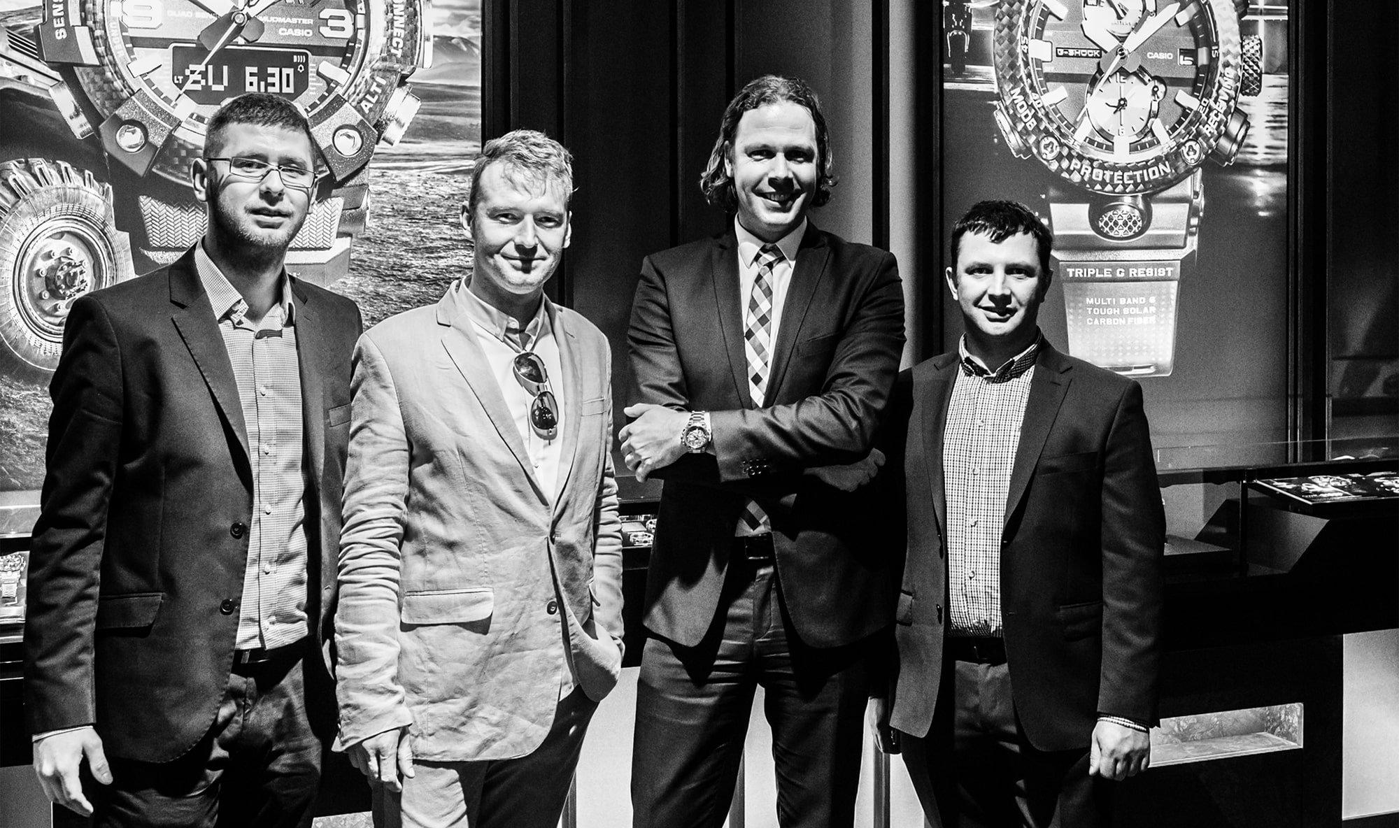 Panowie z zespołu ZEGAREK.NET z Panem Danielem Francke – Senior Key Account Manangerem CASIO