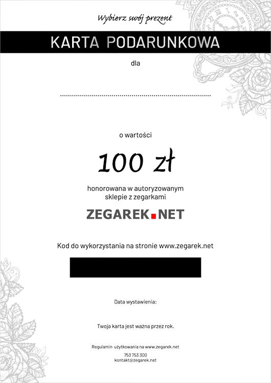 ZEGAREK.NET eKarta podarunkowa 100 zł - ekarta
