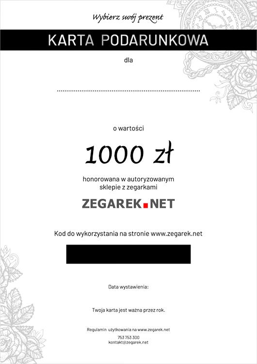 ZEGAREK.NET eKarta podarunkowa 1000 zł - ekarta