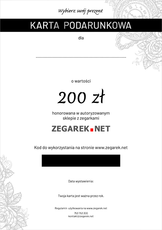 ZEGAREK.NET eKarta podarunkowa 200 zł - ekarta