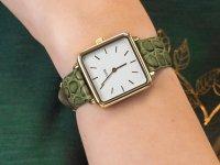 klasyczny Zegarek złoty Cluse La Tetragone CL60016 Gold White/Green Alligator Jungle - duże 4