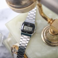 Casio Vintage A158WEAD-1EF BLACK AND SILVER WITH DIAMOND LIMITED VINTAGE Midi elegancki zegarek srebrny