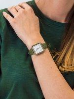 Zegarek damski klasyczny Cluse La Tetragone CL60016 Gold White/Green Alligator Jungle szkło mineralne - duże 3