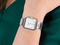 Zegarek damski klasyczny Cluse La Tetragone CL60025S Three Link Silver/White Pearl szkło mineralne - duże 4